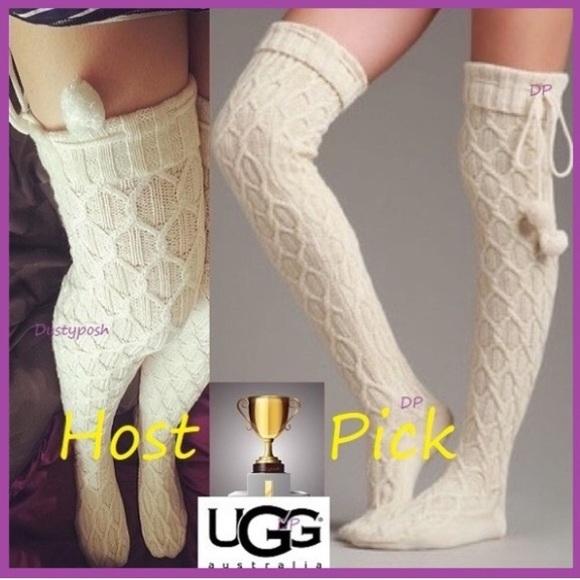 d6d37f401 UGG Over The Knee Thigh High Socks Sparkle Pom Pom